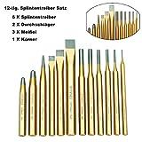 FreeTec 12 tlg Splintentreiber Satz Durchtreiber Splinttreiber Flachmeißel Meißel/Körner