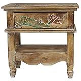 Nachttisch mit Blumen Schnitzereien Schränkchen Schrank Nachtkommode mit Schublade rustikal Asien Braun ca. 50 cm