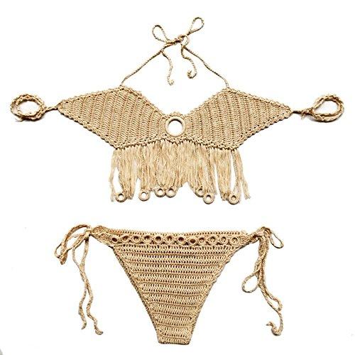 Akimgo (TM) 2016 Cotton Mesh-Bikini-BH Bademode Sexy Top & Bottom Bodysuit Australien-Strand-Badeanzug Halter-Badeanzug CA
