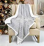Catalonia Sherpa Decke Flauschige Kuscheldecke, Superweiche warme Fleece Sofadecke für Sofa TV Bett, umschaltbar, 127x152cm, Grau