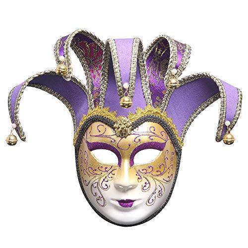 BLEVET Venezianische Joker Full Face Masquerade Glocken Mardi Gras Party Venedig Prinzessin Halloween MZ022 (Purple) (Masquerade Halloween-kostüm Joker)