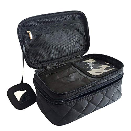 Borsa Cosmetica, ONEGenug Borsa Make Up 23 * 14 * 10 cm Trousse Make Up, Doppio Strato con Specchio per le Donne Nero Taglia M