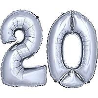 DekoRex® stagnola palloncino numero pallone ad elio palloncino palloncino decorazione di compleanno 80 centimetri in argento numero 20 - 60 ° Compleanno Palloncini