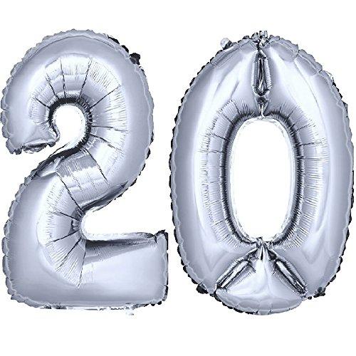 DekoRex ® Folienballon Zahlenballon Heliumballon Luftballon Geburtstag Deko 80cm Zahl Silber 20