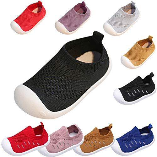 Sandalen für Kinder/Dorical Sommer Unisex Baby Jungen Mädchen Lauflernschuhe Fliegendes Weben Schuhe Mesh Atmungsaktiv Sportschuhe Freizeitschuhe Krabbelschuhe mit Weiche Sohle(Schwarz,2-2.5 Jahre)