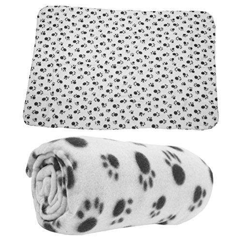 Haustierdecke Hundedecke Fleece Decke Katzendecke Tierdecke Liegedecke Pfötchen (Grau, 80 x 120) - 2