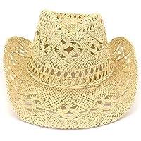 Sombrero Moda hecha a mano ahuecada vaquero sombrero de paja de las mujeres de los hombres de verano al aire libre Viajes playa de sombreros unisex del casquillo de la sombrilla sólido Occidental
