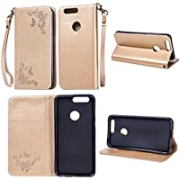 Cozy Hut Huawei Honor 8 Hülle | Handyhülle | Schutzhülle | Handytasche | Tasche | Cover | Case mit Premium Vintage / Retro Genuine Scrub Leather Flip Folio Leather Wallet Stand Case with card slots and side pocket Shell Für Huawei Honor 8 Schmetterlings-Rose Muster Hülle - golden