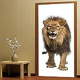 Wandaufkleber ALLDOLWEGE Einfache 3D Stereo Tür Aufkleber Löwen Wohnzimmer Schlafzimmer Tür Dekoration selbstklebende Papier 38,5 * 200 cm * 2 Stück