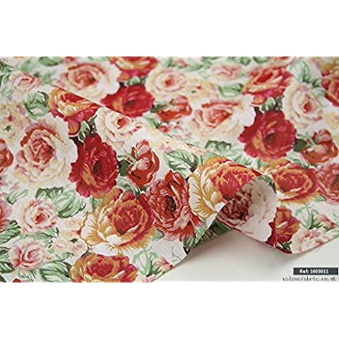 Vintage English Rose 100% tessuto di cotone