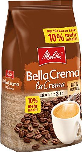 Melitta Ganze Kaffeebohnen, 100{1c7012d808bc1e581abda20898629e54e8cbb75271b095ce303091f98d326edc} Arabica, vollmundig und ausgewogen, Stärke 3, BellaCrema LaCrema, 1100 g