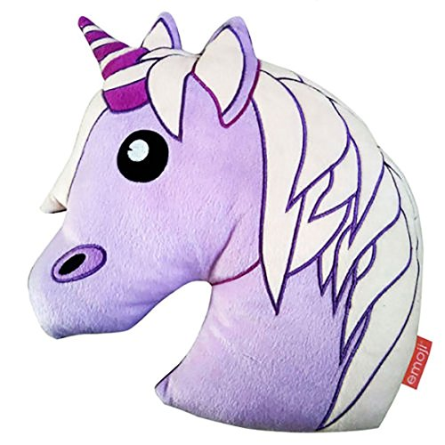 Kinder Emoji-Einhorn Cartoon Weiche Kissen Kinder Kopf Form Lila Kissen, Unicorn Cushion, 33CM X 41CM (Fashion-formen Cami)