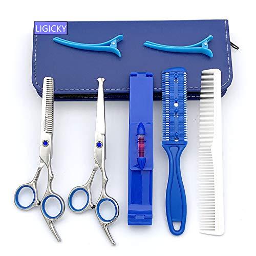Ligicky set forbici parrucchiere professionali, sicurezza punta arrotondata forbici in acciaio inox, bambini forbici da barbiere parrucchieri sfoltire kit di utensili per taglio capelli salon e casa