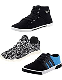FU-ZONE Combo Of 3 Men's Canvas Black Casual Shoes, Black_White Casual Shoes And Black_Sky Blue Sneakers Shoes