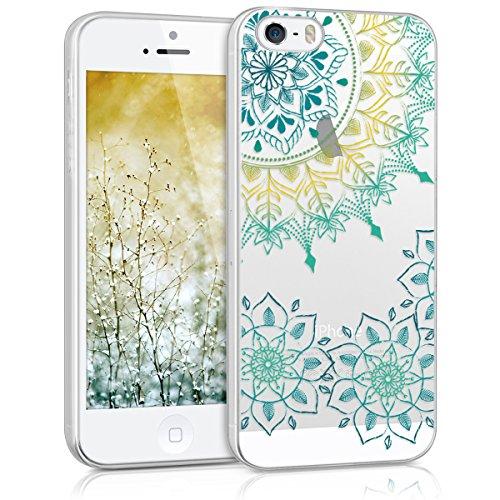 kwmobile Hülle für Apple iPhone SE / 5 / 5S - TPU Silikon Backcover Case Handy Schutzhülle - Cover Metallic Blau Vintage Blumenring Türkis Gelb Transparent
