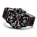 Menton Ezil Militär Sport Armbanduhr Quarz Herren Uhr 3D Gesicht Automatisch-mechanische Uhr Lederarmband 30M Wasserdichte Datumsanzeige