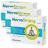 3x NervoStrong | 90 Tabletten für 3 Monat | Einschlafhilfe & Unterstützung Nervensystem und zur Beruhigung | Vegan - Apotheken-Qualität