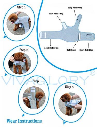 Vivaglory Angst T-Shirt mit Stressabbau und Anti-Angst-Effekt für Hunde, verstellbar, Größe M, Blau - 5
