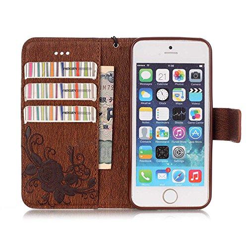 iPhone Case Cover emobssing schmetterling harz für pu - leder aus strass fall mit seil und karten - slots für apple iphone5 iphone5s 5se iphone6 / 65 / 65 plus iphone6 ( Color : Dark-blue , Size : IPh Brown