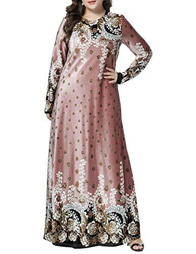 BESBOMIG Kaftan Dubai Abaya Muslime Roben Marokkanisch Roben Blumen Maxi Kleid Party Kleider - Damen Lange Ärmel Lose Beiläufig Robe