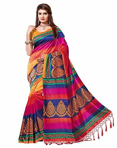 Art Decor Sarees Women's Mysore Art Silk Saree with Blouse Piece(Multi-Cotton)