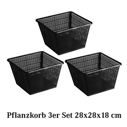 Pflanzkorb Set Pflanzhilfe Wasserpflanzen verschiedene größen Sets ideal für Fertigteiche Gartenteiche unf Fischteiche - 3er - 28 x 28 x 18 cm