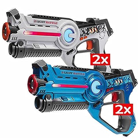 4x Light Battle Active laser tag toy gun: 2x laser gun blue + 2x laser blaster white - LBAP10434D