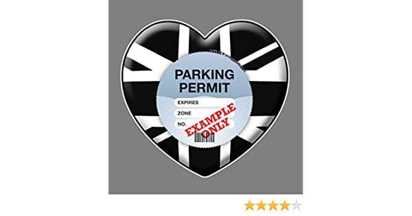 Parking Permit Holder Skin BLACK WHITE GB HEART Car Tax Disc Holders Automotive FREE POSTAGE