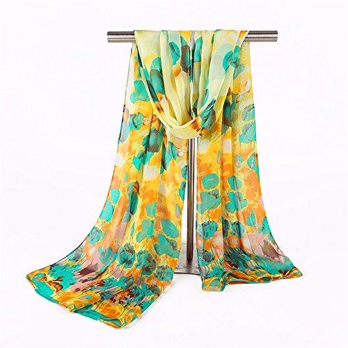 YRXDD Chiffon Schal Sommer Trim Schal Schal Strand Shirt Schal Wild Lady,gelb unten blau 50 * 160cm (Trim Decke Baby)