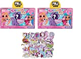 Hairdorables - JPL23730 - Série 2 - Lot de 2pcs blind box + 50pcs stickers unicorn - Poupée aléatoire - Neuf