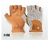 Klassische Fingerlose Englisches Leder Fahrhandschuhe Häkel Schnur rücken Unisex Chauffeur Vintage mode - Bräunung - 350, M