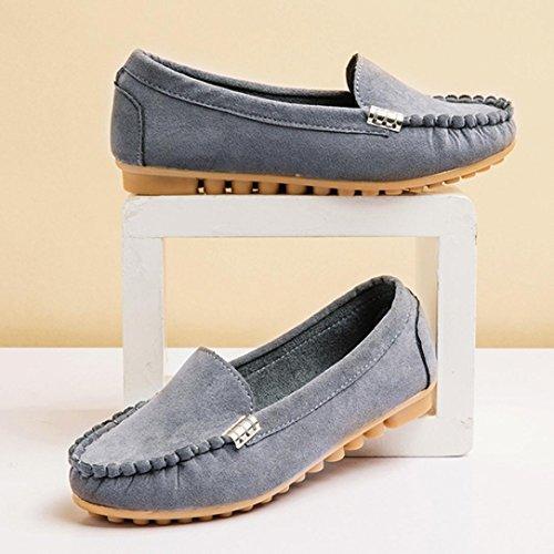 Somesun Womens Flats Casual Chaussures Bateau Mou, Womens Ballet Chaussures Flats Dames Confortable Slip-on Chaussures Bateau Décontracté Gris