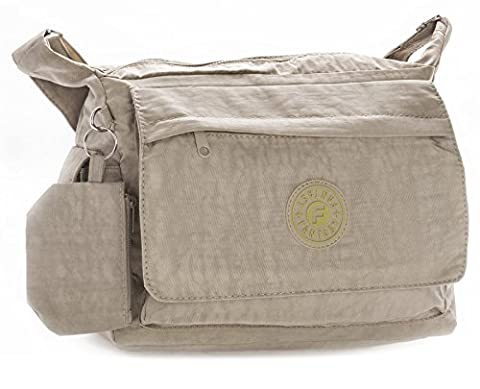 Big Handbag Shop Unisex Lightweight Fabric Medium Messenger Cross Body Shoulder (454 Beige)