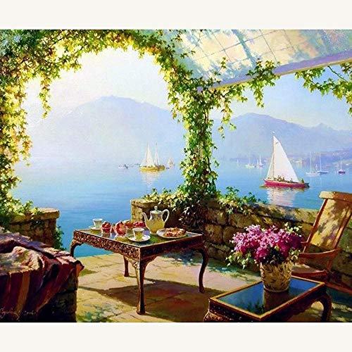 Toiong Kreuzstich DIY 5D Diamant Stickerei Seaside Garten volle Runde Diamant Malerei Strass Mosaik Home Decor Geschenke -