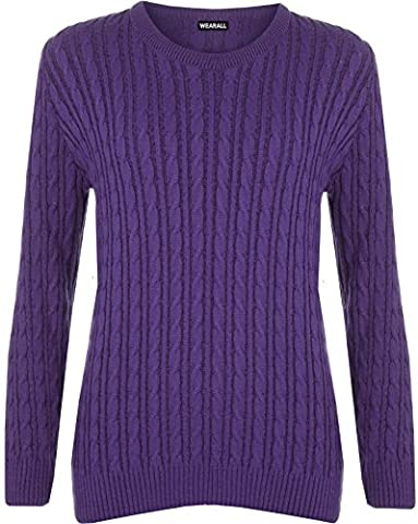 WearAll Women's Cable Knit Long Sleeve Top Ladies Jumper Sweater - Violet - 16-18
