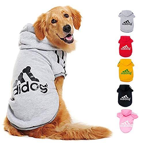 Ducomi Adidog Hunde Hoodie Kapuzenpullover aus weicher Baumwolle XS bis 8XL Versand aus DE (6XL, Grau)
