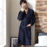 GAOLILI Frühling und Herbst Männer reine Baumwolle Schlaf Robe langärmeligen Pyjamas langen Abschnitt Startseite Kleidung Bademäntel ( Farbe : Bunte , größe : XXXL )