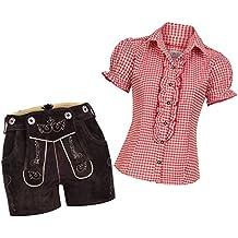 Damen Trachten Lederhose Shorts aus Ziegenveloursleder in bordeaux rot