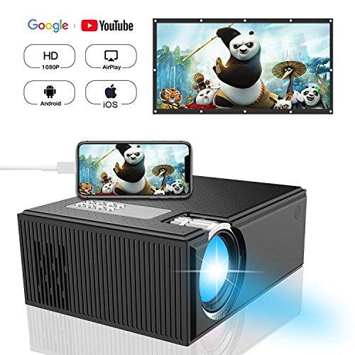 Beamer, iBosi Cheng + 50% Lumen Tragbar 1080P Full HD Beamer, LCD Mini HD Projektor Multimedia Heimkino Filmprojektor Unterstützung HDMI VGA USB AV SD Verbunden mit Laptop / iPad iPhone Android Smartphone Xbox für Movie Game Party