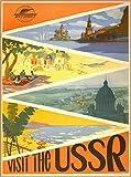 ABLERTRADE Targa in Metallo con Scritta in Lingua Inglese 'Visit The USSR Scenic Russia' Vintage Russo Travel Art Tin Poster Decorazione da Parete 20,3 x 30,5 cm