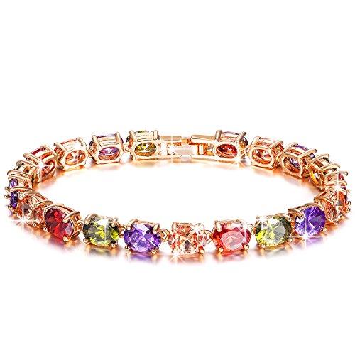 """Pauline & Morgen """"Boemia Chic"""" Bracciale Donna-Cristallo Multicolori-Gioielli Colore Oro Rosa"""