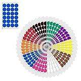 2,5cm Runde Punktaufkleber Farbkodierung Etiketten Markierungspunkte - 10 verschiedene Farben, 1200 Stück