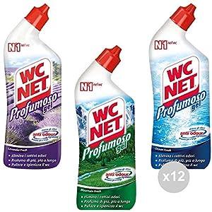 Wc Net Set 12 Gel profumoso 700ml Assortito Prodotto per la Pulizia della casa, Multicolore, Unica