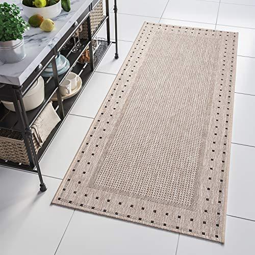 Tapiso Floorlux Teppich Läufer Meterware Flur Küche Wohnzimmer Indoor Sisal Optik Modern Figuren Beige Grau Flachgewebe nach Maß 70 x 220 cm