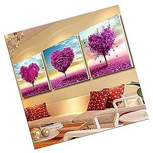 LuLyL Confezione da 3[Cornice di Legno] dipingere con i Numeri Kit per Adulti e Bambini Anziani Junior Principianti acrilici DIY Pittura a Olio Kit–Main Shape Love Tree 50,8x 50,8cm