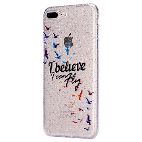 EUWLY iPhone 7 Plus/iPhone 8 Plus (5.5) Custodia Silicone, Case Cover per iPhone 7 Plus/iPhone 8 Plus (5.5), EUWLY Sparkly Bling Glitter Gel Silicone TPU Custodia Cover per iPhone 7 Plus/iPhone 8 Pl Bling Uccello