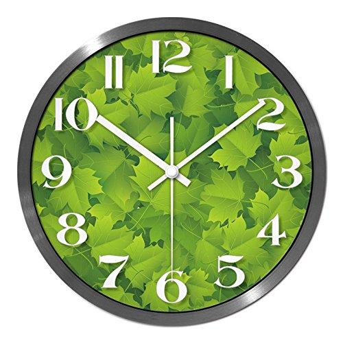 Angetrieben, Air-motor Der (BYLE Kreative stilvolles Wohnzimmer den Bar frisch grün Blatt ultraleise Air Tisch Kunst Home Decor Wanduhr, 14 cm, Silber,)