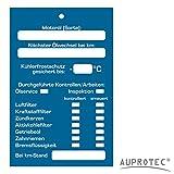 Auprotec Kundendienstaufkleber Kundendienst Anhänger Serviceanhänger Inspektionsanhänger für Kfz Service und Werkstatt Auswahl: (50 Stück, Inspektionsanhänger)