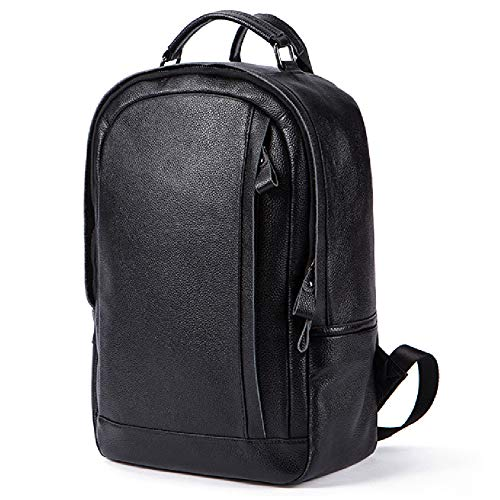 Großer Rucksack aus echtem Leder für Laptop-Rollrucksack für Männer Damen Vintage Canvas Lederrucksack Campus Book-Bag Erholung im Freien passt 15,6 Zoll in Laptop