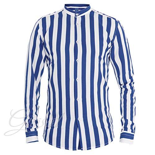 Giosal camicia uomo righe mod righe bicolore blu bianco bottoni collo coreano casual c1325a-m